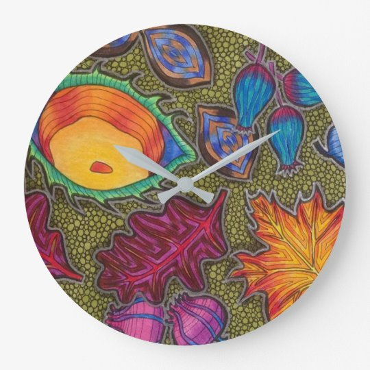Colourful Autumn Fall seeds and leaves Large Clock