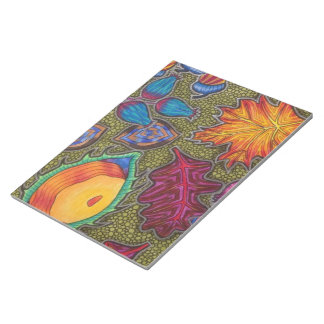 Colourful Autumn Fall seeds and leaves Notepad