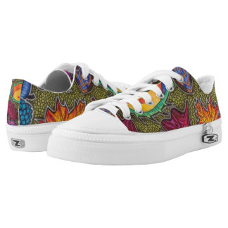 Colourful Autumn Fall seeds and leaves Printed Shoes