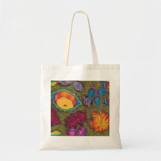 Colourful Autumn Fall seeds and leaves Tote Bag