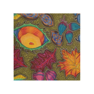 Colourful Autumn Fall seeds and leaves Wood Print