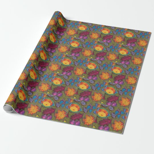 Colourful Autumn Fall seeds and leaves Wrapping Paper