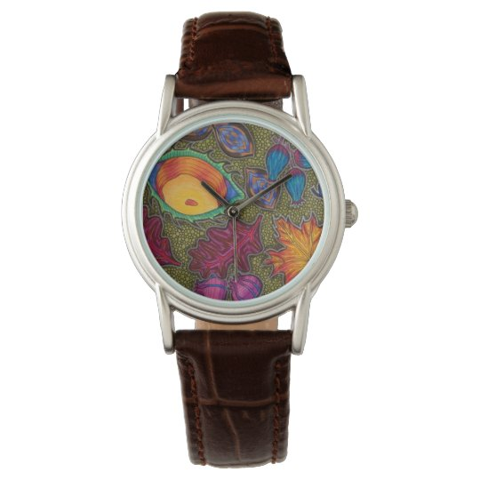 Colourful Autumn Fall seeds and leaves Wrist Watch
