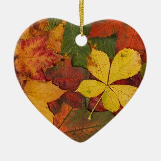 colourful autumn leaves ceramic heart decoration