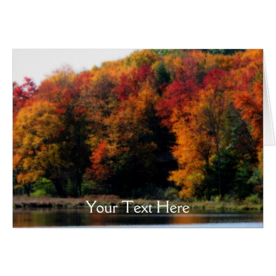 Colourful Autumn Leaves Pond Nature Photo Card