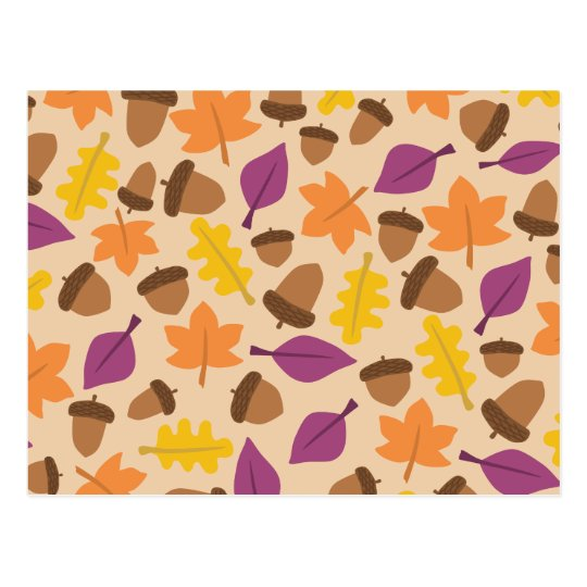 Colourful autumn pattern postcard