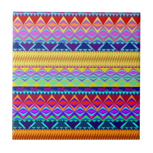 Colourful Aztec Design Tile