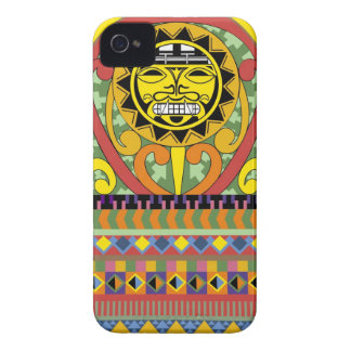 Colourful Aztec patterns- and sun symbol iPhone 4 Case