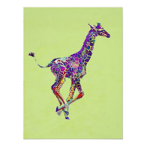 colourful baby giraffe poster