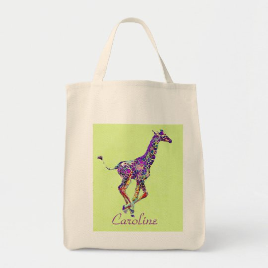 colourful baby giraffe tote bag