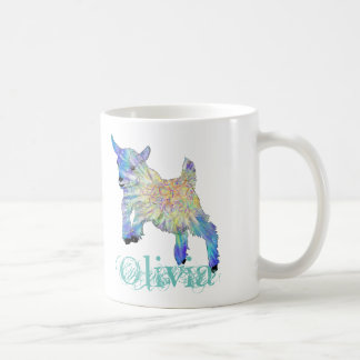 Colourful Baby Goat Jumping Design with Your Name Coffee Mug