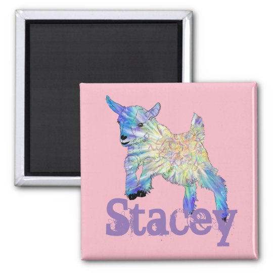 Colourful Baby Goat Jumping Design with Your Name