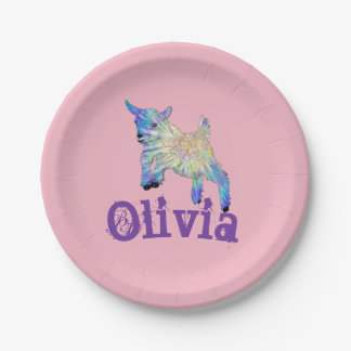 Colourful Baby Goat Jumping Design with Your Name Paper Plate