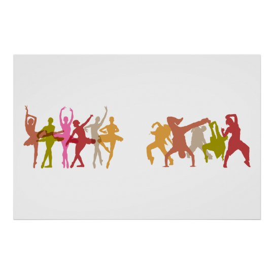 Colourful Ballerinas and Hip Hop Dancers Poster