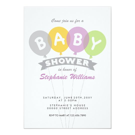 Colourful Balloons Baby Shower Invitation Grey