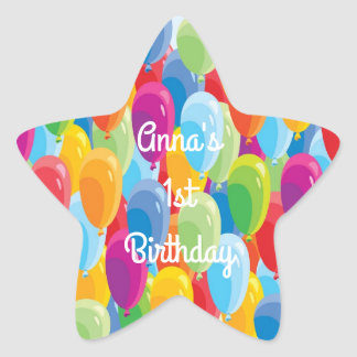 Colourful Balloons - Birthday Stickers With Text