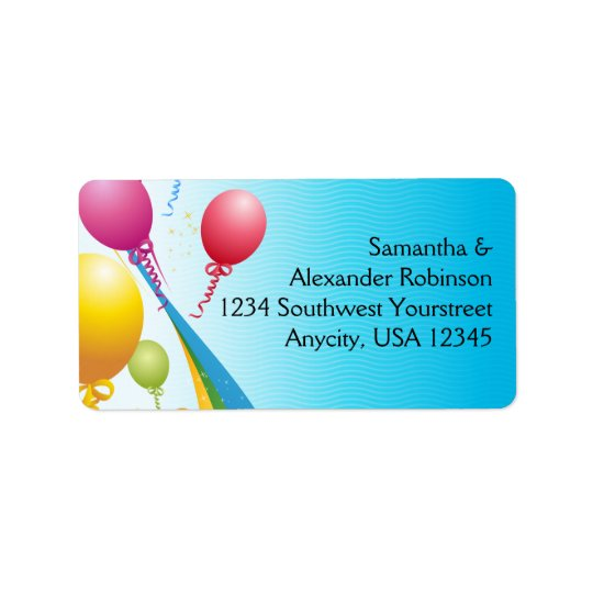 Colourful Balloons | Curly Ribbons Address Label