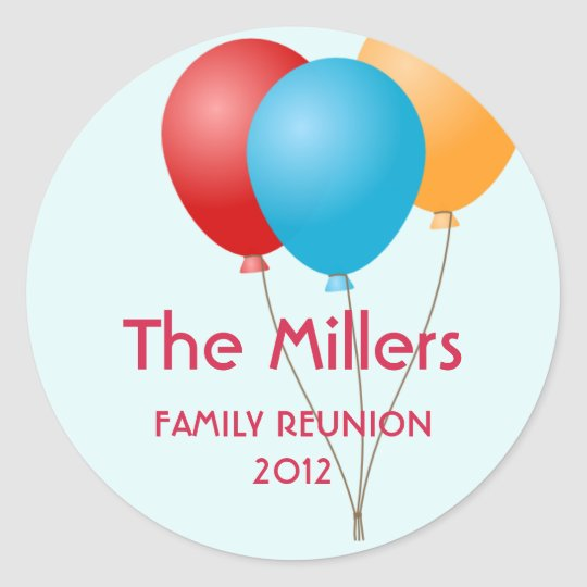 Colourful balloons family reunion party favour classic round