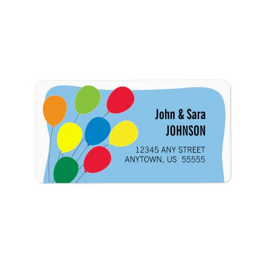 Colourful Balloons on Light Blue Background Label