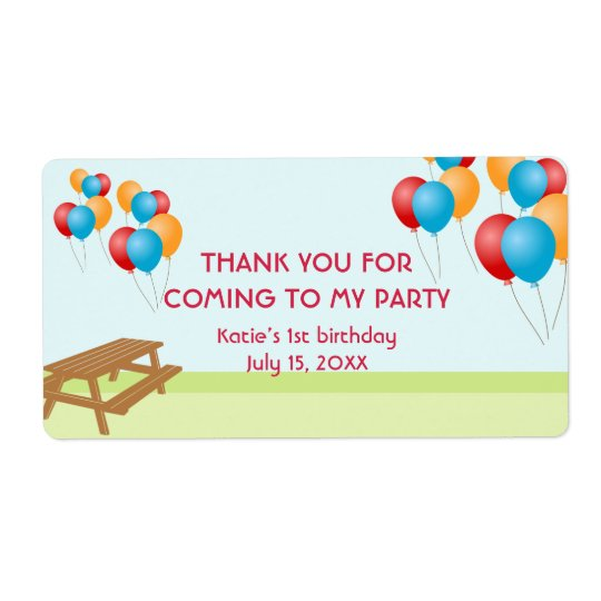 Colourful balloons outdoor picnic party favour