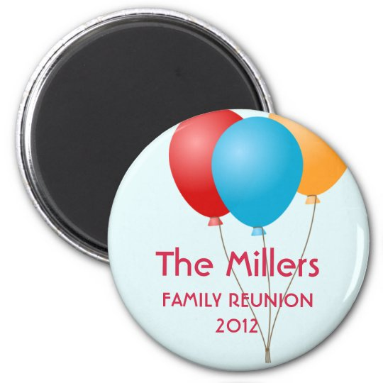 Colourful balloons summer family reunion custom magnet