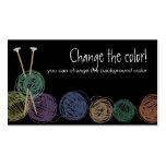 Colourful balls of yarn knitting needles biz cards