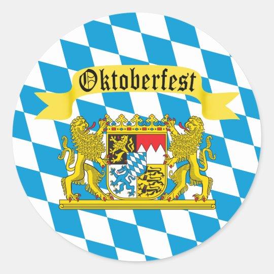 Colourful Bavarian Flag Oktoberfest Classic Round Sticker