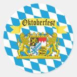 Colourful Bavarian Flag Oktoberfest Round Sticker