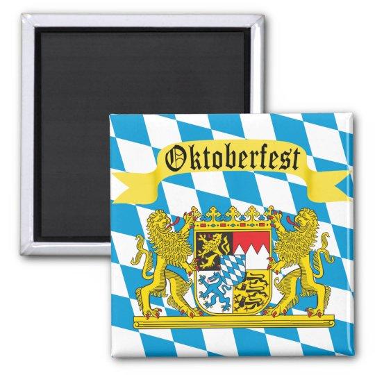 Colourful Bavarian Flag Oktoberfest Square Magnet