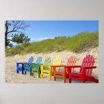 Colourful Beach Chairs Poster