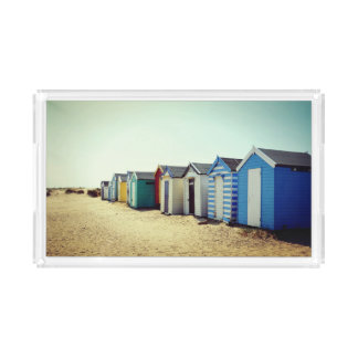 Colourful Beach Huts In The Sun Acrylic Tray