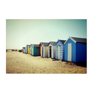 Colourful Beach Huts In The Sun Acrylic Wall Art