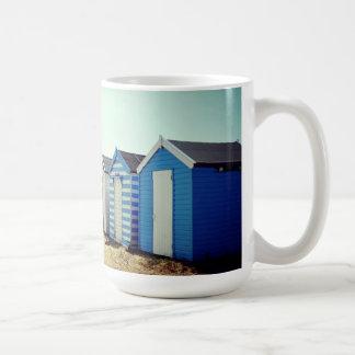Colourful Beach Huts In The Sun Basic White Mug