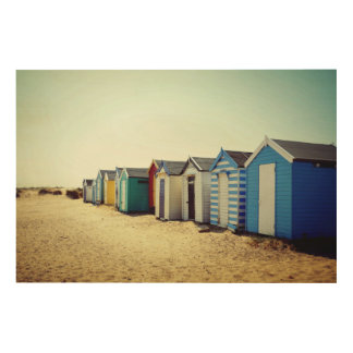 Colourful Beach Huts In The Sun Wood Canvases