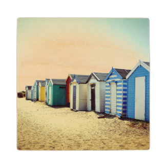 Colourful Beach Huts In The Sun Wood Coaster