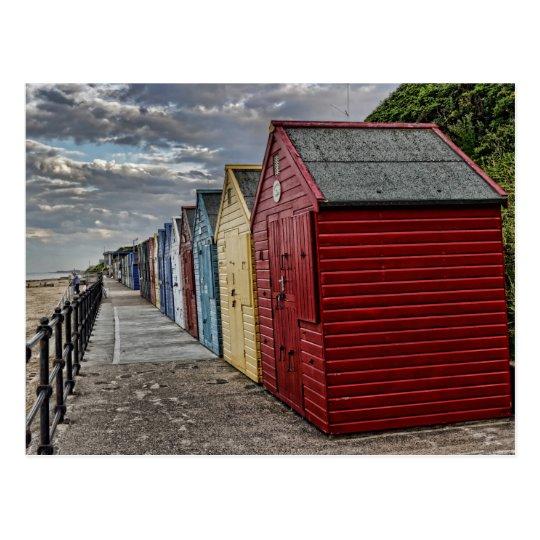 Colourful Beach Huts Postcard