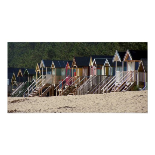 COLOURFUL BEACH HUTS POSTER