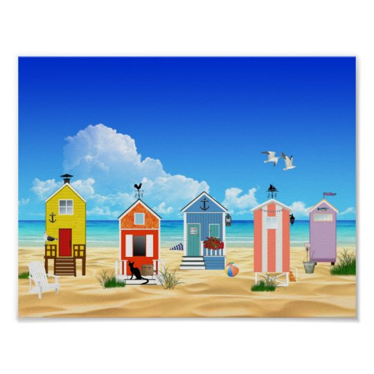 Colourful Beach Summer Fun Poster