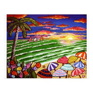 Colourful Beach Sunset Folk Art Post Cards