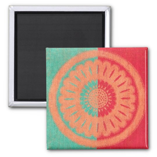 Colourful Beach Towel Flower Design Square Magnet