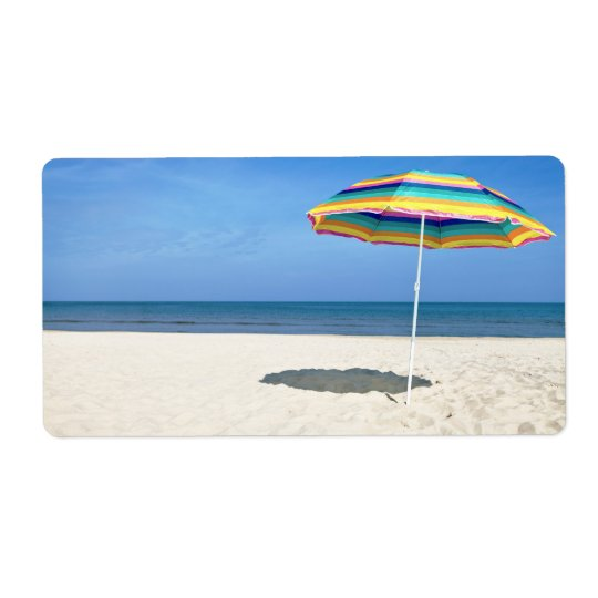 Colourful Beach Umbrella On The Sandy Beach Shipping
