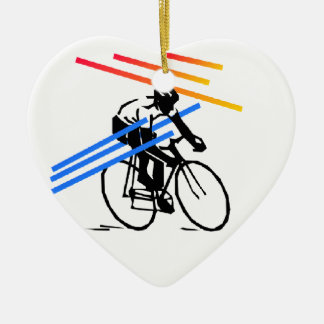 Colourful Bike Cycling Ceramic Heart Decoration