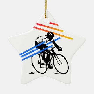 Colourful Bike Cycling Ceramic Star Decoration