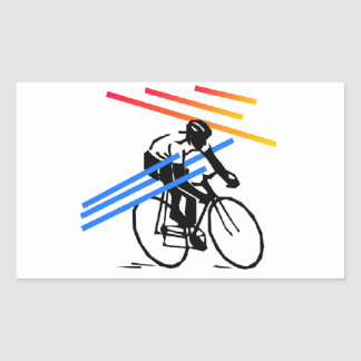 Colourful Bike Cycling Rectangular Sticker