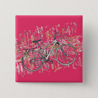 Colourful bike drawing 15 cm square badge
