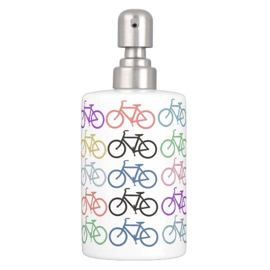 Colourful Bike Pattern Soap Dispenser And Toothbrush Holder