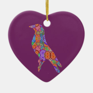 Colourful Bird Ceramic Heart Decoration