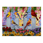 Colourful Bird Flower Garden Postcard