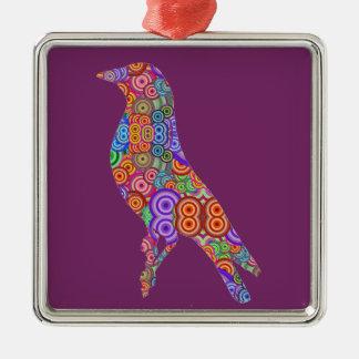 Colourful Bird Silver-Colored Square Decoration