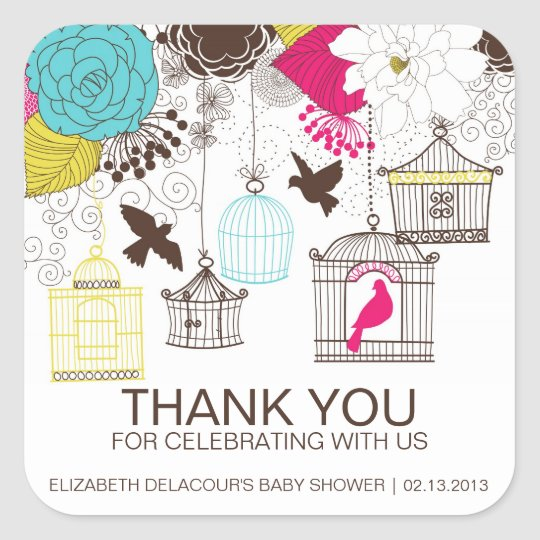 Colourful Birdcages Baby Shower Thank You Sticker
